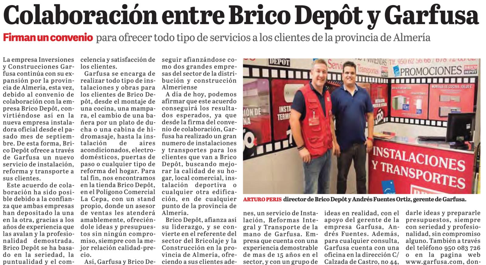 Colaboración entre Brico Depôt y Garfusa