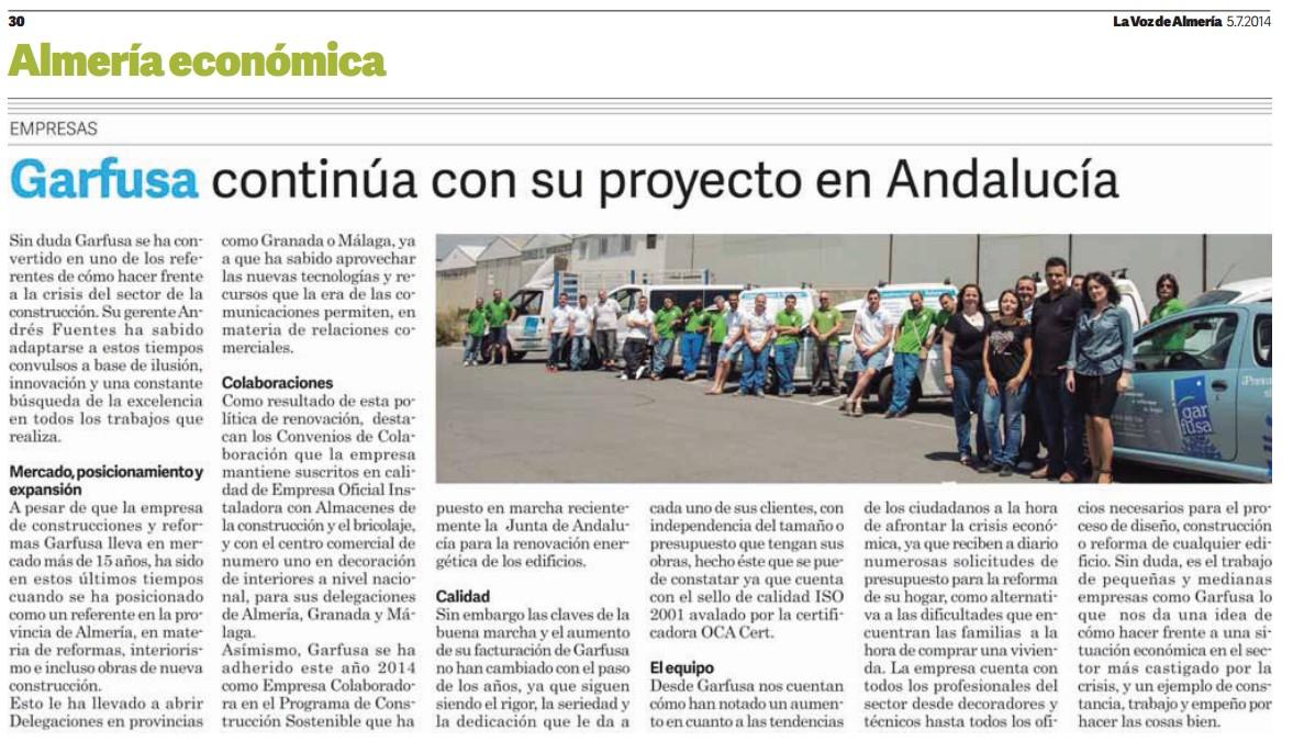 Garfusa continúa con su proyecto en Andalucía